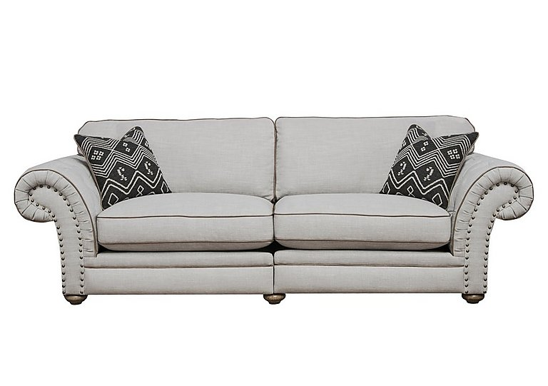 Langar 4 Seater Fabric Sofa in Merch Linen Cloud Light Feet on FV