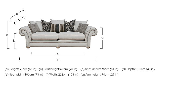 Langar 4 Seater Fabric Sofa in  on FV