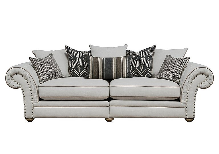 Langar 4 Seater Fabric Sofa in Merch Linen Cloud Light Feet on FV