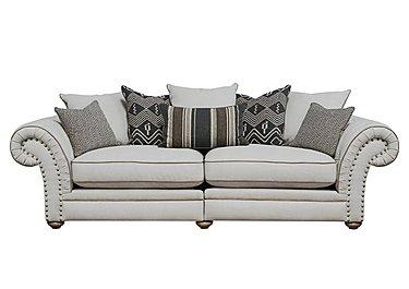 Langar 4 Seater Fabric Pillow Back Sofa in Merch Linen Cloud Light Feet on FV