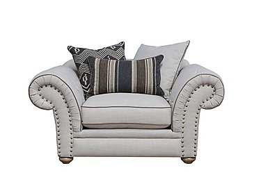 Langar Fabric Snuggler Chair in Merch Linen Cloud Light Feet on FV