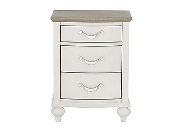 Annecy 3 Drawer Nightstand in Soft Grey And Grey Washed Oak on Furniture Village