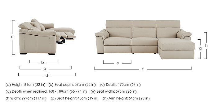 Sensor Leather Recliner Corner Chaise in  on FV