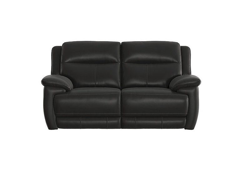 Touch 2 Seater Leather Recliner Sofa in Bv-3500 Classic Black on FV
