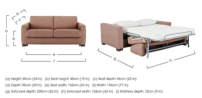 Alcova 2.5 Seater Fabric Sofa Bed with Box Arms in  on FV
