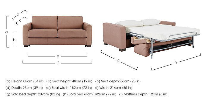 Alcova 3 Seater Fabric Sofa Bed with Box Arms in  on Furniture Village