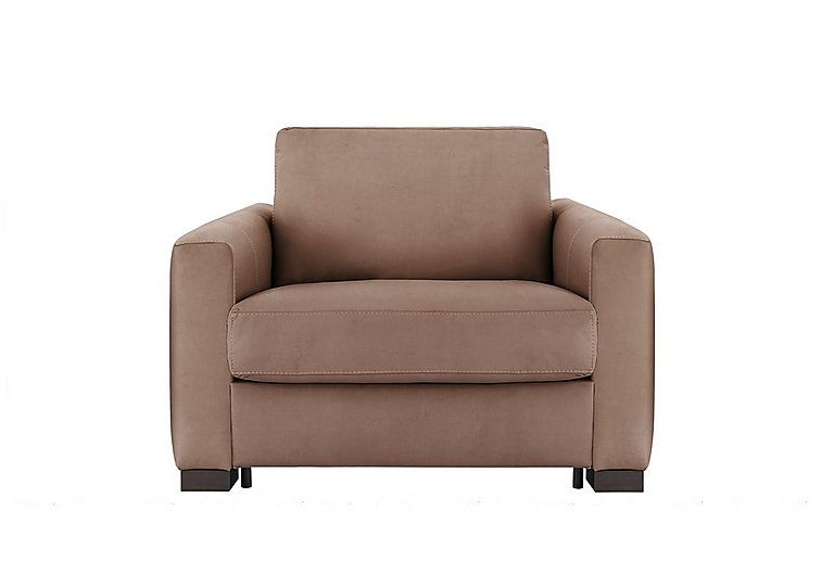Alcova Single Fabric Sofa Bed with Box Arms in Flambe 4310-25 Caffe on Furniture Village