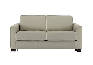 Alcova 2 Seater Leather Sofa Bed with Box Arms in 857 Tortora on Furniture Village