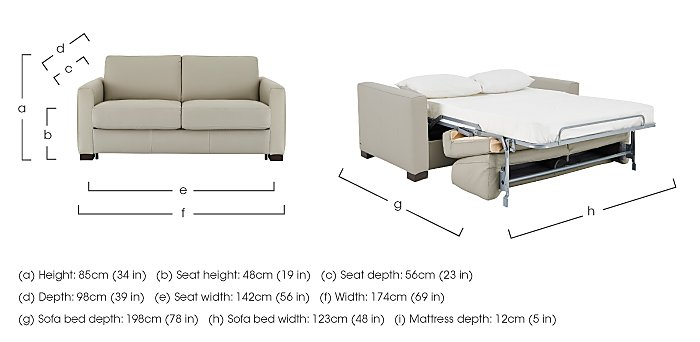 Alcova 2 Seater Leather Sofa Bed with Box Arms in  on Furniture Village