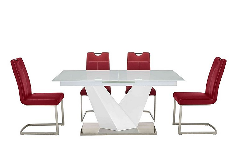 Panama White Dining Table and 4 Chairs in Red Chairs on FV