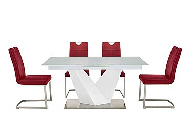 Panama Dining Table and 4 Chairs in Red Chairs on FV