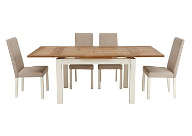 Compton Extending Table and 4 Upholstered Chairs in Two Tone Tbl / Sand Fabric Chr on FV