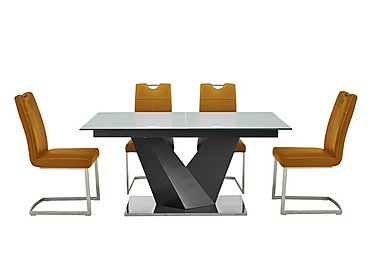 Panama Grey Dining Table and 4 Chairs in Mustard Chairs on FV