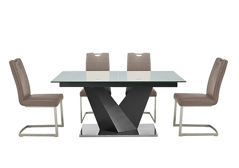 Panama Grey Dining Table and 4 Chairs in Taupe Chairs on FV
