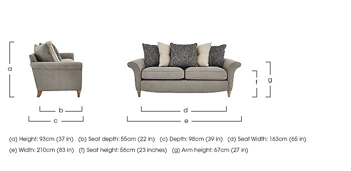 Diversity 3 Seater Fabric Pillow Back Sofa in  on FV