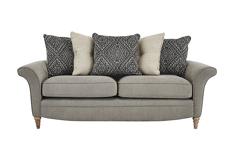 Diversity 3 Seater Fabric Pillow Back Sofa in Cosmo Mist Granite Lo on FV