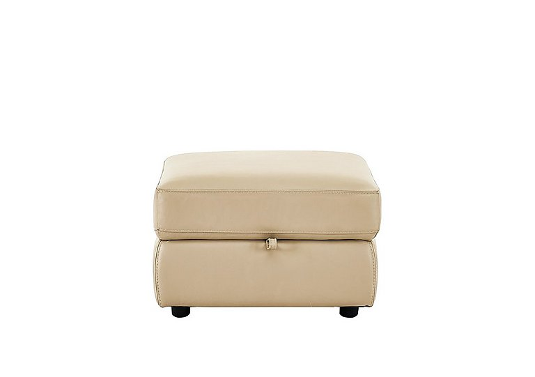 Bounce Leather Storage Footstool in Bv-862c Bisque on Furniture Village