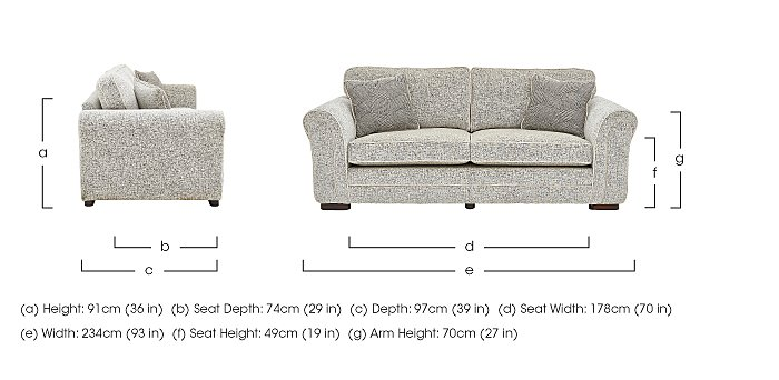 Devlin 4 Seater Fabric Sofa in  on FV