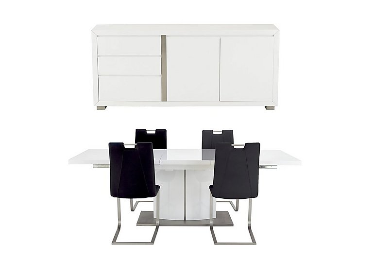 Grande Dining Table with 4 Chairs and Sideboard in Black on FV