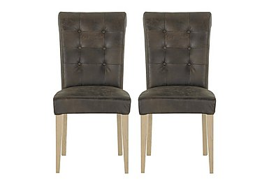 Pierre Pair of Upholstered Dining Chairs in Brown Bonded Leather Oak on FV