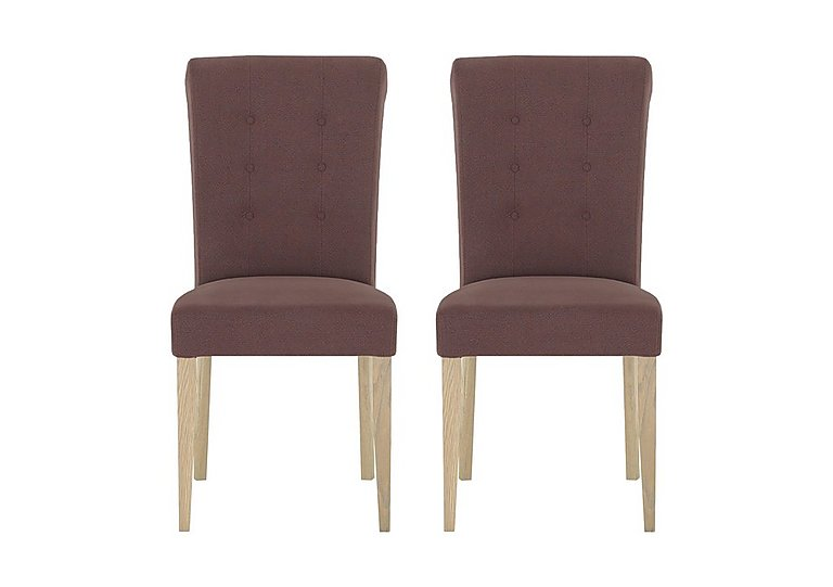 Pierre Pair of Upholstered Dining Chairs in Mulberry Fabric Oak on FV
