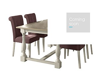 Pierre Extending Dining Table and 4 Upholstered Dining Chairs in Mulberry Fabric Antique White on FV