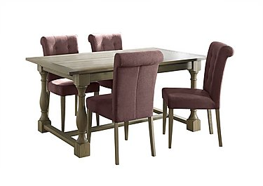 Pierre Extending Dining Table and 4 Upholstered Dining Chairs in Mulberry Fabric Oak on FV