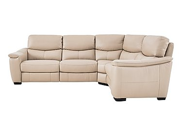 Flex Leather Recliner Corner Sofa in Bv-039c Pebble on FV