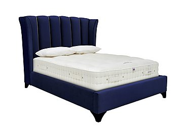 Ariel Bed Frame in Velvet Navy Rope Piping Wg on FV