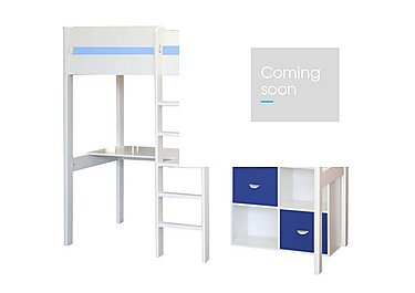 Kool High Sleeper Bed With Desk and 2 Cube Units in Blue on FV