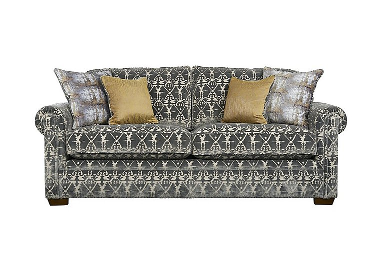 The Derwent Collection Eastmoor 3 Seater Fabric Sofa in 2378-95 Ikat Silver on FV