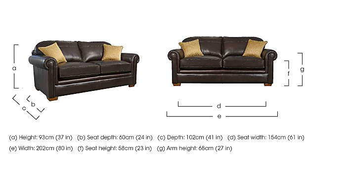 The Derwent Collection Eastmoor 3 Seater Leather Sofa in  on FV