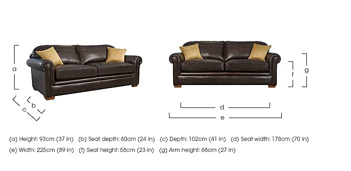 The Derwent Collection Eastmoor 4 Seater Leather Sofa in  on FV