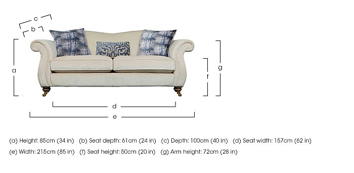 The Derwent Collection Cavendish 3 Seater Fabric Sofa in  on FV