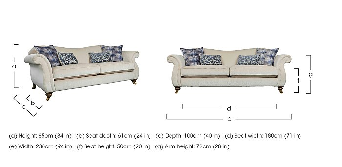 The Derwent Collection Cavendish 4 Seater Fabric Sofa in  on FV