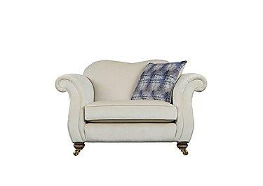 The Derwent Collection Cavendish Fabric Snuggler Armchair in 1341-51 Vista Oyster on FV
