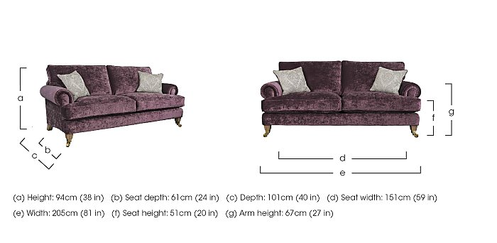 The Derwent Collection Bradwell 3 Seater Fabric Sofa in  on FV