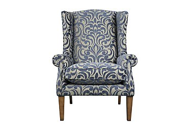 The Derwent Collection Hathersage Fabric Armchair in 2380-81 Swirl Medallion Indigo on FV