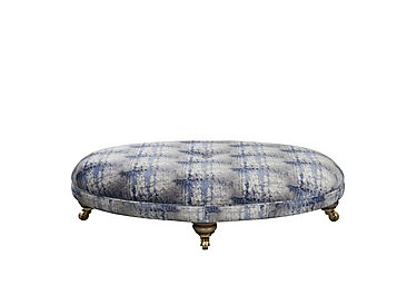 The Derwent Collection Fabric Oval Footstool in 2382-81 Crystalize Indigo on FV