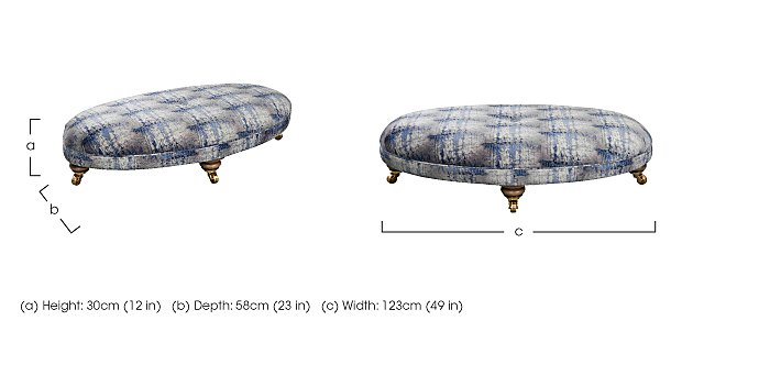 The Derwent Collection Fabric Oval Footstool in  on FV
