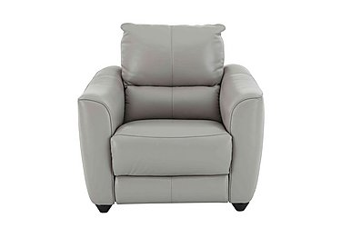 Trilogy Leather Battery Recliner Armchair - Only One Left! in Nc-946b Feather Grey on Furniture Village