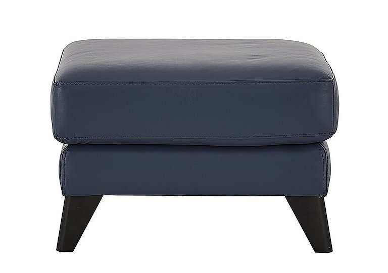 Pacific Leather Footstool - Only One Left! in Nc-313e Ocean Blue on FV