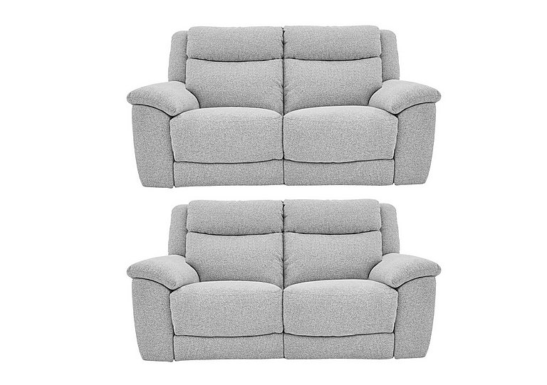 Bounce Pair of Fabric Power Recliner Sofas
