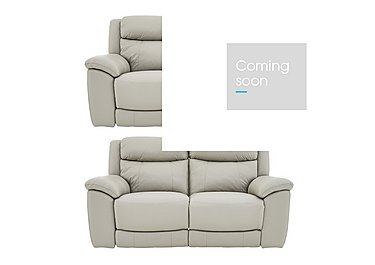Bounce Pair of Leather Manual Recliner Sofas in Bv-946b Silver Grey on FV