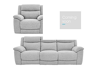 Bounce Fabric 3 Seater Power Recliner Sofa and Armchairs in Chl-R21 Chilli Frost on FV