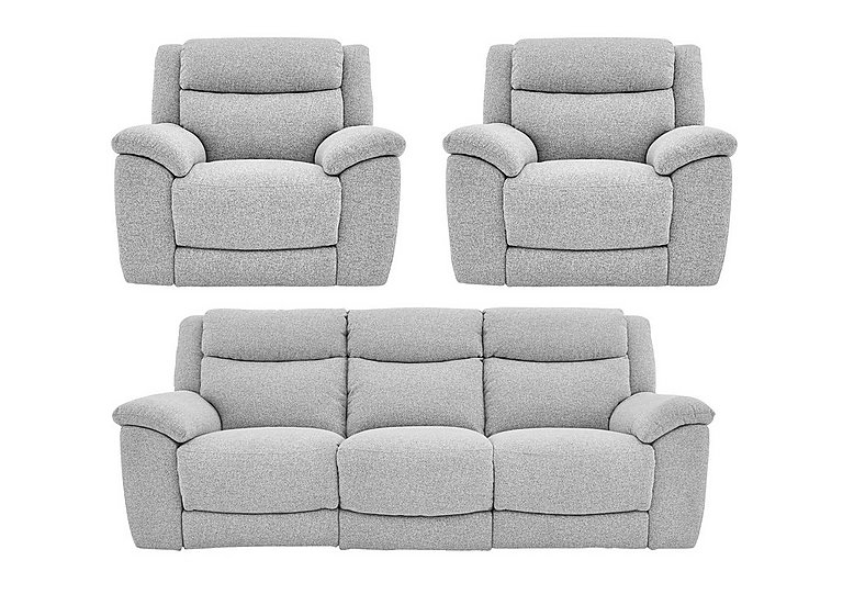 Bounce Fabric 3 Seater Power Recliner Sofa and Armchairs