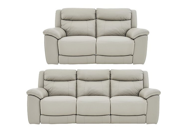 Bounce 3 & 2 Seater Leather Power Recliner Sofas in Bv-946b Silver Grey on FV