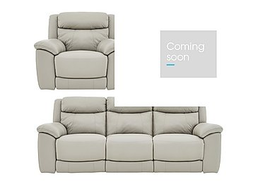 Bounce Leather 3 Seater Manual Recliner Sofa and Armchairs in Bv-946b Silver Grey on FV