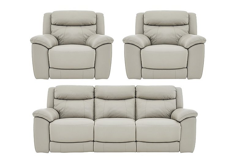 Bounce Leather 3 Seater Manual Recliner Sofa and Armchairs