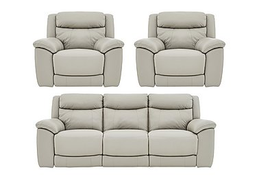 Bounce Leather 3 Seater Manual Recliner Sofa and Armchairs in Bv-946b Silver Grey on Furniture Village